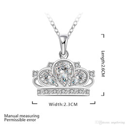 Wholesale Silver Crown Pendant Rhinestones - Pretty Gift 925 Silver Jewelry Clear Zircon Crown Flower Pendant Necklace Free Shipping