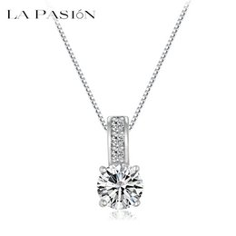 Wholesale Clear Crystal Cluster Necklace - Small Size Classic & Clear AAA+ Cubic Zirconia Crystal Pendant Necklace Jewelry for women and lady 40.5 + 6cm length La Pasion Brand