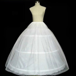 Wholesale Pageant Slips - Hot Sale Three Hoops White Petticoats Ball Gown Crinoline Tulle Underskirt Slip For Wedding Gowns Pageant Dress