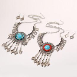 conjunto de joyas con elementos de cristal de swarovski de corazón Rebajas Bohemia Rhinestone de la resina de la gema Gran flor Rhombus Tassel Necklace Earring Set Ethnic Geometric Jewelry Set