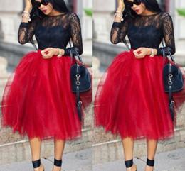 Wholesale Black Dresses Polyester - Dark Red Short Skirts For Women Lovely Full Tutu Party Dresses Formal Skirt Knee Length Fluffy Plus Size Skirt Maxi Skirt Fast Shipping