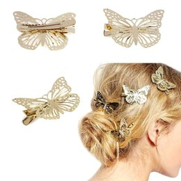 Wholesale lace butterfly hair accessories - Wholesale- Golden Butterfly Hair Clip Headband Hair Accessories Headpiece Hairpins hair accessories cute causual party wear Free Shipping