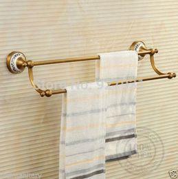 "Wholesale Brass Towel Rod - Antique Brass 24"" Inch Double Towel Bar Wall Mounted Bathroom Dual Rod Towel Rack 1001#01"