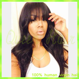 Wholesale Lace Front Wigs Fringe - Virgin Brazilian Full Lace Wig Lace Front Wig Straight Human Hair Wigs With Full Bangs Fringe For Black Woman Natural Hairline
