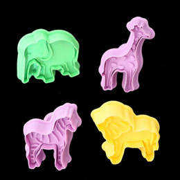 Wholesale Cookies Press - Cartoon Stereo Cookie Mold Plastic Zebra Elephant Giraffe Lion Shape Cake Mould Manual Press Baking Molds For Home 3 2ty B