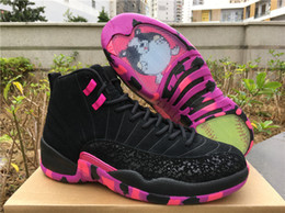 Wholesale Silk Family - New air retro 12 XII Doernbecher family Black Purple men Basketball Shoes 12S sneakers Sports training sneakers top quality size 8-13