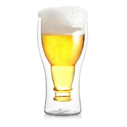 Wholesale Decorating Glass Cups - 250ml 350ml Chic Double Wall Design Glass Beer Wine Wiskey Juice Cup Mugs Bar Pub Decorating