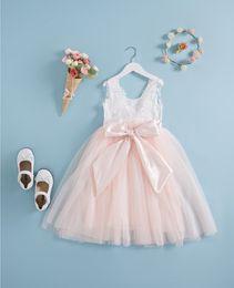 Wholesale Wholesale Dres - flower girl dres Summer 2018 Lace Tulle Princess Dress Children Sundress Korean Bow Kids Party Dresses Sweet Pageant Dress C2618
