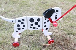 Wholesale Wooden Walker Toy - Creative Pull along pals toys educational wooden toy baby walker toy dog drag cable Dalmatians 3-6 years novelty GAMES