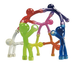 Wholesale Feet Toys - Wholesale-10pcs   lot Novelty Mini Flexible Q-Man Magnet Magnetic Toy Pliable figures with magnetic hands and feet holding papers color
