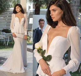 Wholesale Pure White Crystal Wedding Dresses - 2016 Vintage Long Sleeves Wedding Dresses Deep V Neck Sheath Long Bridal Gowns With Peplum Pure White Wedding Dress 2015 Hot Sale