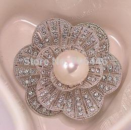Wholesale Order Bouquet Brooches - Minimum Order 12 USD Rhodium Silver Plated CZ Rhinestone Diamante Ivory Pearl Flower Bouquet Bridal Brooch