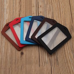 Wholesale Leather Id Card Badge Holder - Wholesale- Pu Leather ID Badge Case Clear with Color Border & Lanyard Holes Card Holder 1pc