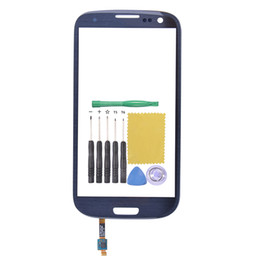 Wholesale S3 Oem Front Glass - Wholesale-OEM Outer Lens Front Glass For Samsung Galaxy S3 I9300 Glass Touch Screen I9300 Replacement+Sensor+Tools Pebble Blue