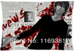 Wholesale Death Note Case - Hot Sale Custom Death Note Fashion Style Cotton Zippered Decorative Single Pillow Case Standard Size 40*60cm(Twin Sides)