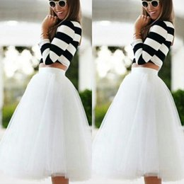 make tutu skirts for adults Promo Codes - 2015 Knee Length White Tulle Tutu Skirts for Adults Custom Made A-line Cheap Party Prom Petticoat Underskirts Women Clothing Cheap