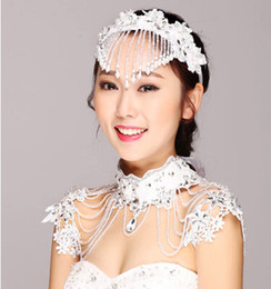 Wholesale Silver Shoulder Wrap Wedding Accessory - Beads Lace Tassel Shoulder Chain Matched Hair Accessories Bridal Wraps Bridal Jewelry Shoulder Chain Diamond Fringe Wedding Necklace