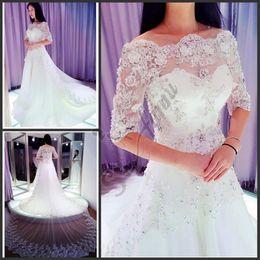 Wholesale wedding dress crystal beading designs - New Design Ivory White Sparkle Sweetheart Beading Crystal 2018 Vintage Wedding Dress Bridal Gown Free Shipping