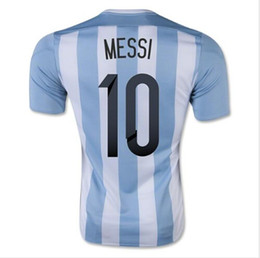 Wholesale Thai Wholesale Soccer Jerseys - Customized Thai Quality 2015 -2016 Argentina Home jersey 10 MESSI Football Soccer Tops Jersey,2015 New Soccer Shirts Drop Shipping Accepted,
