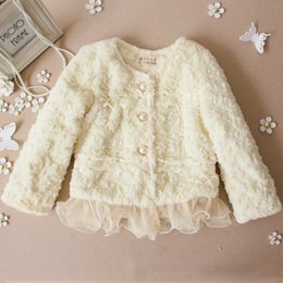 Wholesale Korean Plush Brands - Wholesale-Free shipping brand baby coat Winter 2015 baby clothing Girls Korean explosion models pearl lace plush leather jacket grass