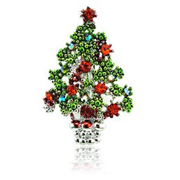 Wholesale Metal Clothes Pins - Fashion Silver Color Metal Brooches Pins Red Rhinestone Christmas Tree Brooches Clothing Christmas Decoration Gift Jewelry