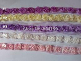 Wholesale Wholesale Pink Lace Trim - Wholesale 3D Rose Chiffon Flower Fabric Craft Sewing Lace Mesh Trim Wedding pink, white, cream, pink, violet