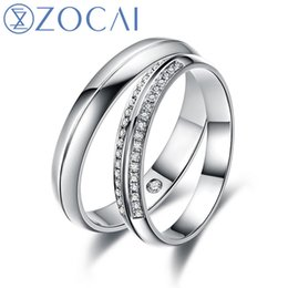 Wholesale Round White Diamond Band - Wholesale-ZOCAI HAPPINESS REAL 0.15 CT CERTIFIED H  SI DIAMOND HIS AND HERS WEDDING RINGS SETS ROUND CUT 18K WHITE GOLD