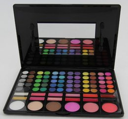 Wholesale Pro 78 Full Color Eyeshadow - Pro 78 Color Makeup Eyeshadow Pigment Blush Palette Eye Shadow Cheek Blush Pressed Powder Lip Gloss cosmetic Tools kit drop shipping