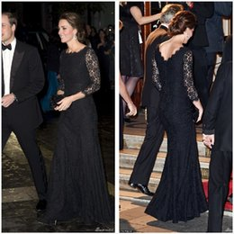 Wholesale Kate Middleton Sheath Dress - Kate Middleton 2017 Lace Evening Dresses Long Sleeves Bateau Sheath Sweep Train Modest Formal Black Prom Pageant Party Gowns Vestidos