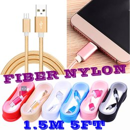 Wholesale Cable Micro Usb L - Unbroken Meta 3ft 1M l 1.5M Long Strong Braided USB Charging Cable For Smart Phones Samsung HTC LG Micro USB Wire With Metal Head Plug..