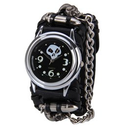 Wholesale Black Glass Rock - Attractive Punk Rock Chain Cuff Gothic Skull Band Women Men Bracelet Wrist Watch Free shipping OT14