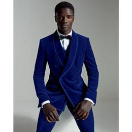 Wholesale Slim Fit 3pcs - 2018 Latest Coat Pant Designs Royal Blue Velour Slim Fit Men Suit Set Groom Tuxedo Velvet Party Prom Wedding Suits 3Pcs (Jacket+Pants+Vest)