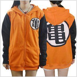 Wholesale goku costumes - New Dragon Ball Z Son Goku Cosplay Hooded zipper hoodie Costume Unisex Cardigan Jacket Daily Hoody