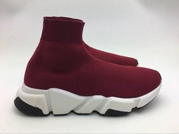 Wholesale Red Knit Tops - TOP 2018 qquality Paris Designer Speed Trainer Stretch Knit Mid Black White Sneakers Breathable Socks Shoes Men and women Casual Shoes 35-46