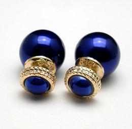 Wholesale Celebrities Earring - 2Pair (4pcs) X LOGO Celebrity Runway Gold double pearl Classic Stud Earrings Ear Studs Pin