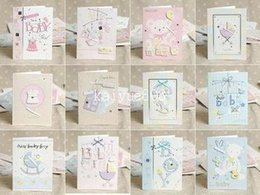 Wholesale Envelope Mini - E130 MINI 1301 12 Designs Lovely New Born Baby Handmade 3D Greeting Cards With Envelope Birth Congratulation Gift 105*140mm