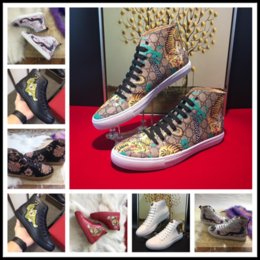 Wholesale Rhinestones Pump Shoes Flats - Fashion High Top Genuine Leather Shoes Men Flats Gentlemen Luxury Wedding Party Tiger Head Embroidery Hip Hop Casual Sneakers