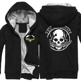 Wholesale Super Fleece Hoodie - Game MGS 5 Metal Gear Solid V Diamond Dogs Outer Heaven Logo Zip Up Print Super Warm Fleece Hoodie Coat Sweatshirt Plus Velvet