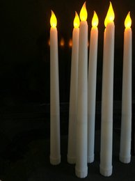 Wholesale Battery Room - 11 &Quot ;Led Battery Operated Flickering Flameless Ivory Taper Candle Lamps Stick Candle Xmas Wedding Table Room Church Decor 28cm (H )