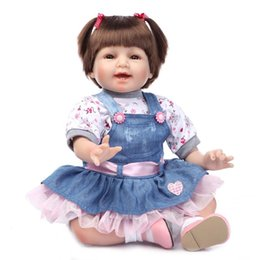 Wholesale reborn doll dresses - Wholesale- Reborn Baby Doll Silicone LifeLike Realistic Baby Doll, Lovely Denim Dress, 22 inch Weighted Baby for Ages 3+
