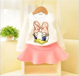 Wholesale Donald Duck Suit - Girls Spring Clothes Outfits 2016 New Hot Sale Children Long Sleeve Cartoon Donald Duck Sweater+Skirt 2pcs Sets Kids Clothing Child Suit
