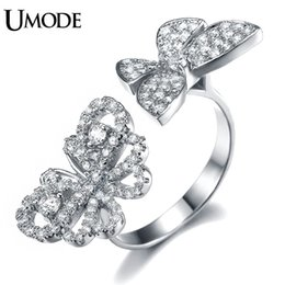 Wholesale Two Butterflies Ring - ashion Jewelry Rings UMODE Selene Series Micro CZ Paved Two Flying Butterfly Between The Finger Ring White Gold Color Jewelry For Women U...