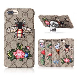 Wholesale Duck Cover - For iPhone 8 8plus Luxury Embroidery Butterfly Duck Grid Leather Phone Case for iPhone7 7plus 6 6s Plus Fashion Girl Gift Back Cover