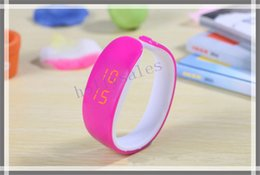 Wholesale Led Digital Price Display - Unisex sport bracelets wrist watch jelly candy color LED digital watch plastic bangle wristwatches with cheap price
