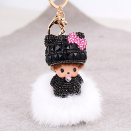 Wholesale Ladies Rabbit Fur Tops - Eleven Colors fake rabbit fur ball keychain for ladies Best top grade keychain