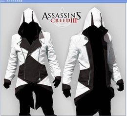 Wholesale Assassins Creed White Jacket - Wholesale and retai Assassins Creed 3 III Connor Kenway jacket men women kids jackets Hoodies cosplay halloween Costumes