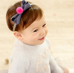 Wholesale Kids Fur Headbands - Fashion Princess Baby Kids Sand Beach Hair Bands Fur Balls Big Bowknot Bandanas Child Hair Accessories Headbands Band Red Grey K6857