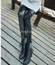 Wholesale Leather Patch Leggings - Lace patched Faux Leather Tregging Ladies' Leggings Shiny Pants Tights Trousers Free Shipping WY211 30p