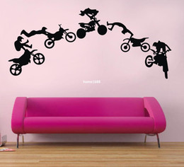 Wholesale Motorcycle Wall Stickers - Motorcycle Stunt wall sticker motorbike poster wall decal Vinyl stickers black Art wallpaper adesivo de parede DIY home decor