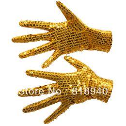 Wholesale Sequin Fingerless Gloves - Wholesale-Pair of Sequin Glove Dance Michael Jackson Billie Jean Fancy Dress Silver Golden